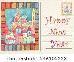 hand drawn back postcard happy... | Shutterstock . vector #546105223