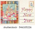 hand drawn back postcard happy... | Shutterstock . vector #546105226