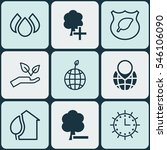 set of 9 eco icons. includes... | Shutterstock .eps vector #546106090