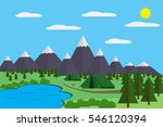 mountains with forest and lake... | Shutterstock .eps vector #546120394