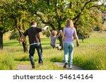 family having a walk outdoors... | Shutterstock . vector #54614164