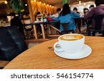 latte art coffe with leaves... | Shutterstock . vector #546154774