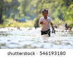 children playing in the creek... | Shutterstock . vector #546193180