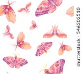 watercolor butterfly seamless... | Shutterstock . vector #546202510