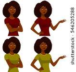 beautiful african american girl ... | Shutterstock .eps vector #546205288