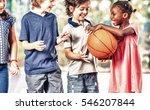 mixed race classmates playing... | Shutterstock . vector #546207844