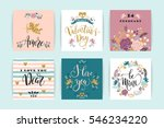 set of happy valentines day... | Shutterstock .eps vector #546234220