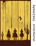 silhouette of three cowboys... | Shutterstock .eps vector #546244696