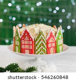 christmas cake decorated with... | Shutterstock . vector #546260848
