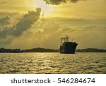 A Silhouette Big Ship At The...