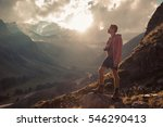 man traveler hiking travel... | Shutterstock . vector #546290413