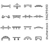 Stock vector bridge line icon set vector 546295450