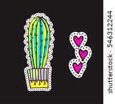 fashion patches  brooches with... | Shutterstock .eps vector #546312244