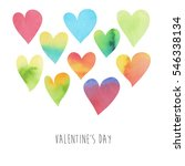 happy valentines day watercolor ... | Shutterstock .eps vector #546338134