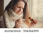 sick woman sitting at the...   Shutterstock . vector #546366394