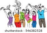 happy people friends dancing... | Shutterstock .eps vector #546382528