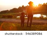 mom playing with her child... | Shutterstock . vector #546389086