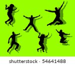 funny jumping people... | Shutterstock .eps vector #54641488