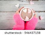 girl drinking hot chocolate... | Shutterstock . vector #546437158