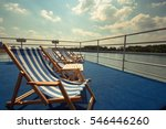 boat upper deck with blue and... | Shutterstock . vector #546446260