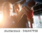 girl practicing boxing with... | Shutterstock . vector #546447958