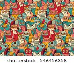 funny owls birds group color... | Shutterstock .eps vector #546456358
