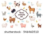Cute Farm Animals Set In Flat...