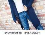 male blue cardigan | Shutterstock . vector #546480694