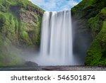 long exposure of skogafoss  | Shutterstock . vector #546501874