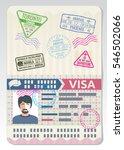 Stock vector open custom passport with visa stamps business travel vector concept 546502066