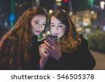 two young beautiful caucasian... | Shutterstock . vector #546505378