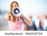 girl shouting on unfocused... | Shutterstock . vector #546510724