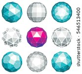 collection of abstract low poly ... | Shutterstock . vector #546513400