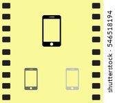 icon of smartphone on yellow...