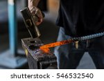 black smith iron smith hitting... | Shutterstock . vector #546532540