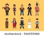 western wild west cute cartoon... | Shutterstock .eps vector #546555484