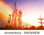 silhouette antennas on sunset...   Shutterstock . vector #546564838