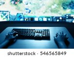 man playing computer games  | Shutterstock . vector #546565849