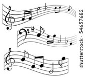 musical notes on music sheet   Shutterstock .eps vector #54657682