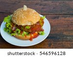 fresh fish berger with tomato... | Shutterstock . vector #546596128