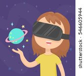 girl wearing a virtual reality... | Shutterstock .eps vector #546605944