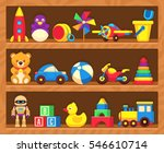 kids toys on wood shop shelves. | Shutterstock .eps vector #546610714