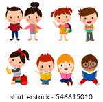 pupils boys and girls | Shutterstock .eps vector #546615010