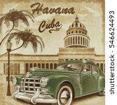 cuba retro poster. | Shutterstock . vector #546624493