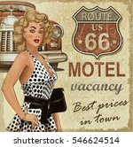 motel route 66 vintage poster | Shutterstock . vector #546624514