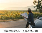 cheerful woman wanderer with... | Shutterstock . vector #546625018