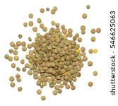Pile Of Green Lentil Isolated...