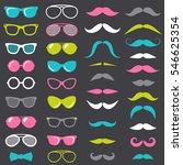 hipster mustache and glasses set | Shutterstock .eps vector #546625354
