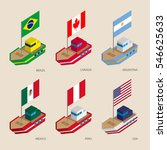 set of isometric 3d ships with...   Shutterstock .eps vector #546625633