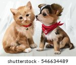 Stock photo cat dog watercolor painting 546634489